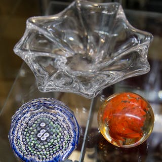 Baccarat Glass Dish & Two Paperweights