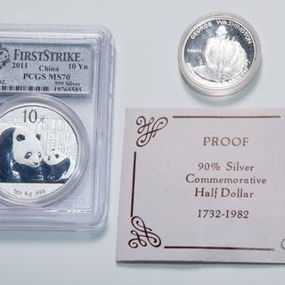 1982 Silver Proof Half and 2001 MS70 Chinese 10 Y