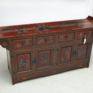 Chinese red lacquered sideboard