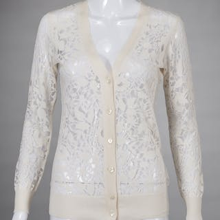 Magaschoni ivory lace and silk cardigan sweater