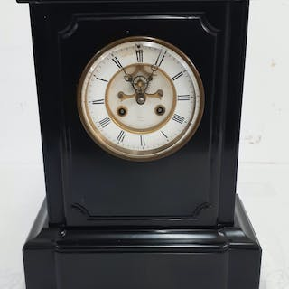 """FRENCH BLACK MARBLE CLOCK; 15""""H"""