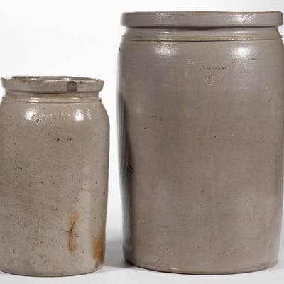STAMPED VIRGINIA STONEWARE JARS, LOT OF TWO