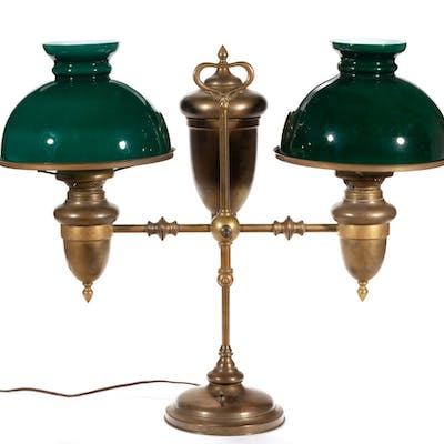 BRASS DOUBLE-ARM KEROSENE STUDENT LAMP
