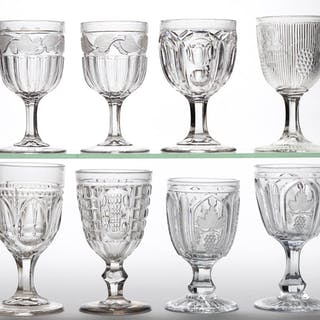 ASSORTED FLINT EAPG GOBLETS, LOT OF EIGHT