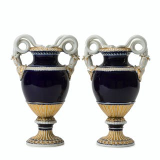 A pair of Meissen Empire-style vases