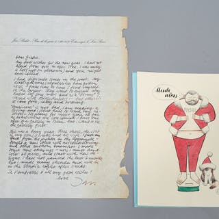 Jan Balet, signed Xmas card and autograph letter