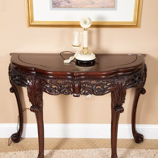 Contemporary Rococo Style Carved Demilune Table