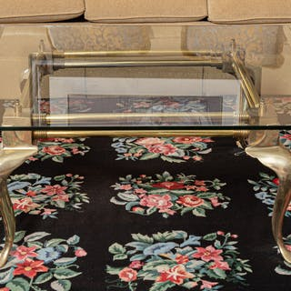 Contemporary Brass Glass-Top Coffee Table