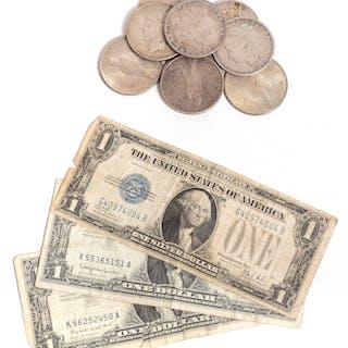 Nine Silver dollars & three $1 Silver Certificates