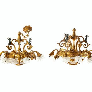 A pair of gilt-bronze chandeliers