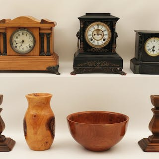 7 PC.; 3 MANTLE CLOCKS, PR. C/STICKS, CYPRESS VASE