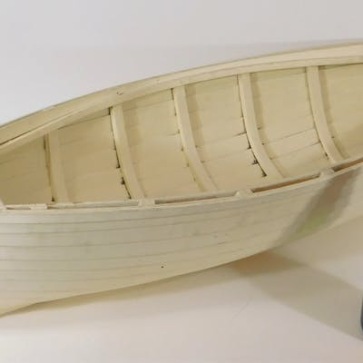 Carved Painted Wooden Shiplap Dory Boat Model