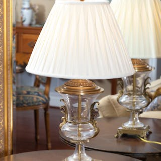 Contemporary Glass Urn-Form Table Lamp