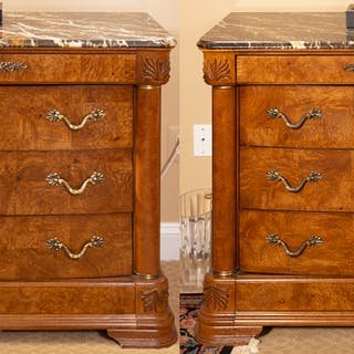 Pair American Drew Burl Wood Marble Top Chests