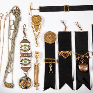 ASSORTED WATCH FOBS AND CHAINS, LOT OF 11