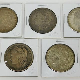 7PC United States Silver Morgan Dollar Coin Group