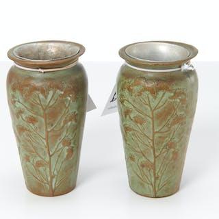 Pair McClelland Barclay Art Nouveau bronze vases
