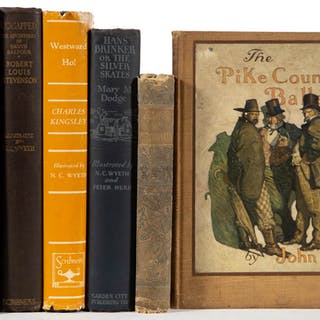 N. C. WYETH ILLUSTRATED VOLUMES, LOT OF FIVE