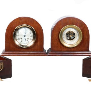 PR OF CASED CHELSEA SHIP'S CLOCK AND BAROMETER, WITH BOXES