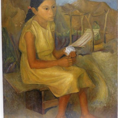 Luis Lusnich O/B Social Realist Painting of a Girl