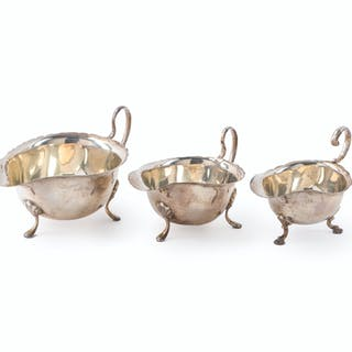 Three English and Canadian sterling silver sauce boats