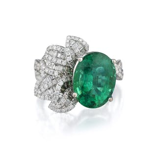 A 4.68-Carat Emerald and Diamond Ring