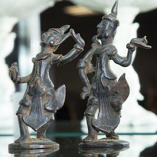 Two Thai Miniature Bronze Figures of Dancers