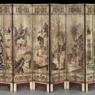 Chinese six-panel polychrome screen