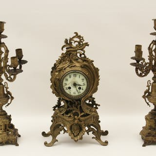 FRENCH 3 PC. METAL CLOCK SET
