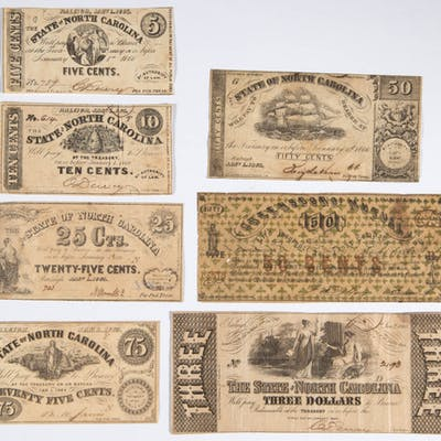 ASSORTED NORTH CAROLINA CIVIL WAR OBSOLETE CURRENCY / NOTES, LOT OF SEVEN
