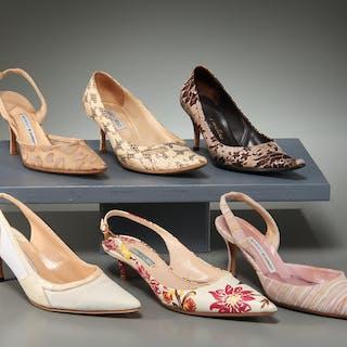 Group of ladies designer shoes, Blahnik, Choo