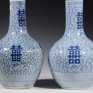PR CHINESE BLUE & WHITE PORCELAIN VASES