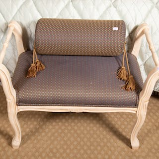 Painted Wood and Upholstered Bench