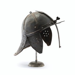 "A Continental armored ""pappenheimer"" helmet"