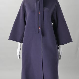 Galanos eggplant melton wool ladies coat