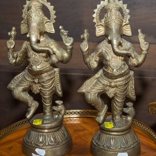 Pair of Indian Brass Figures of Ganesha