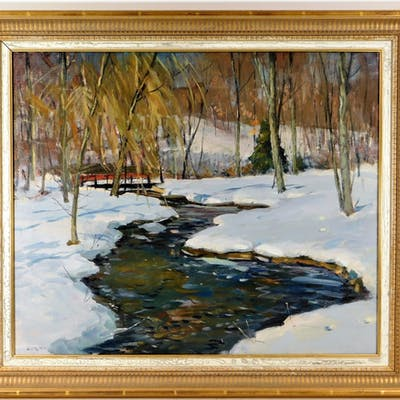 Antonio Cirino O/C Winter Landscape Painting