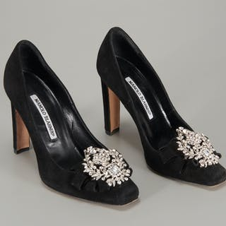 Manolo Blahnik black suede jeweled pumps