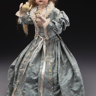 French Tete Jumeau automaton of lady drinking tea