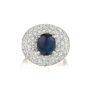A Cabochon Sapphire and Diamond Ring