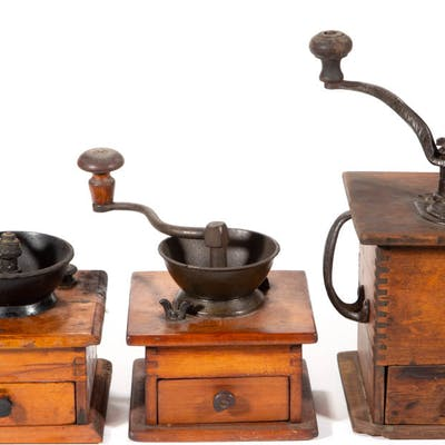 MID-ATLANTIC WOODEN COFFEE GRINDERS, LOT OF THREE