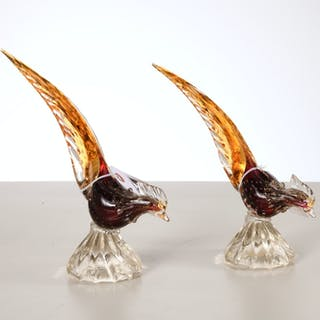 Pair Murano glass birds