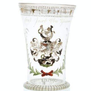 A German enameled glass goblet
