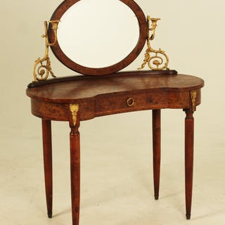 FRENCH BRZ MTD KIDNEY SHAPED DRESSING TABLE