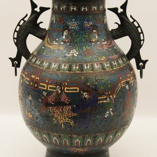 19TH C. CLOISONNE URN