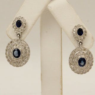 PR. OF18K DIA. AND BLUE SAPPHIRE EARRINGS