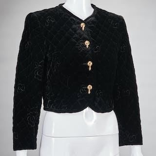 Ungaro Paris crop black velvet jacket