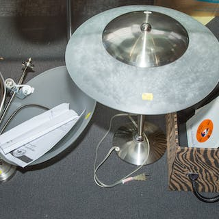 Assorted Items Including Lamps and Records