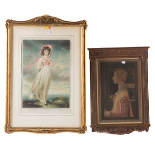 Two Framed Color Mezzotints after Old Masters
