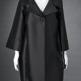St. John black satin evening coat
